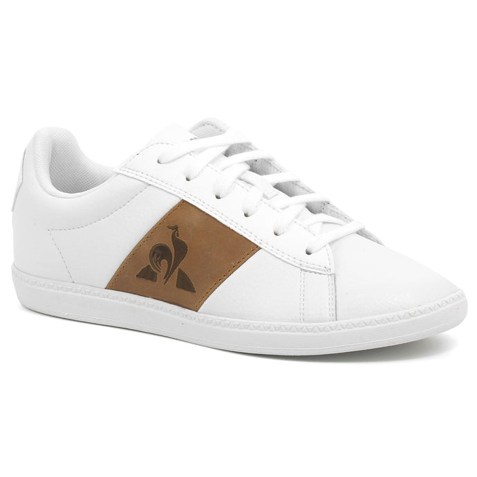 Le Coq Sportif Kids Courtclassic GS Shoes in Optical White/ Light Brown