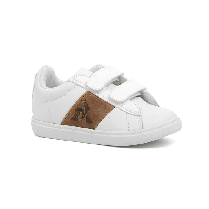 Le Coq Sportif Kids Courtclassic INF Shoes in Optical White/Brown