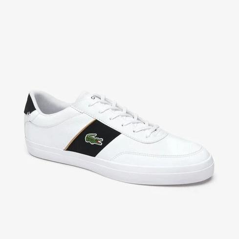 Lacoste Men Court-Master 319 6 CMA Leather/ Synthetic Shoes in White/ Black