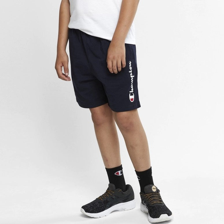 Champion Kids Script Jersey Shorts in Navy