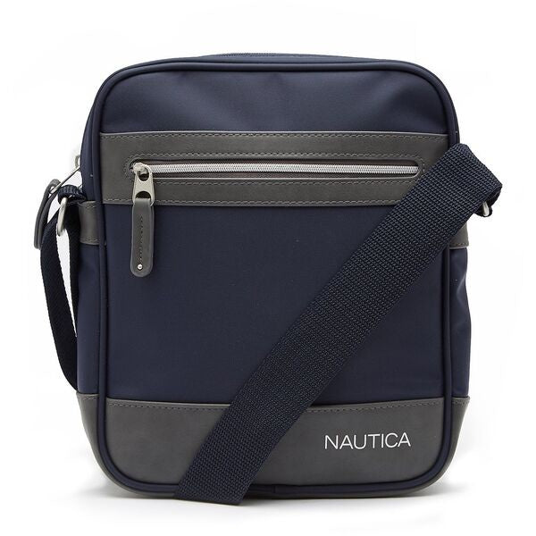 Nautica Men Nylon Crossbody Bag With PU Trim in Navy