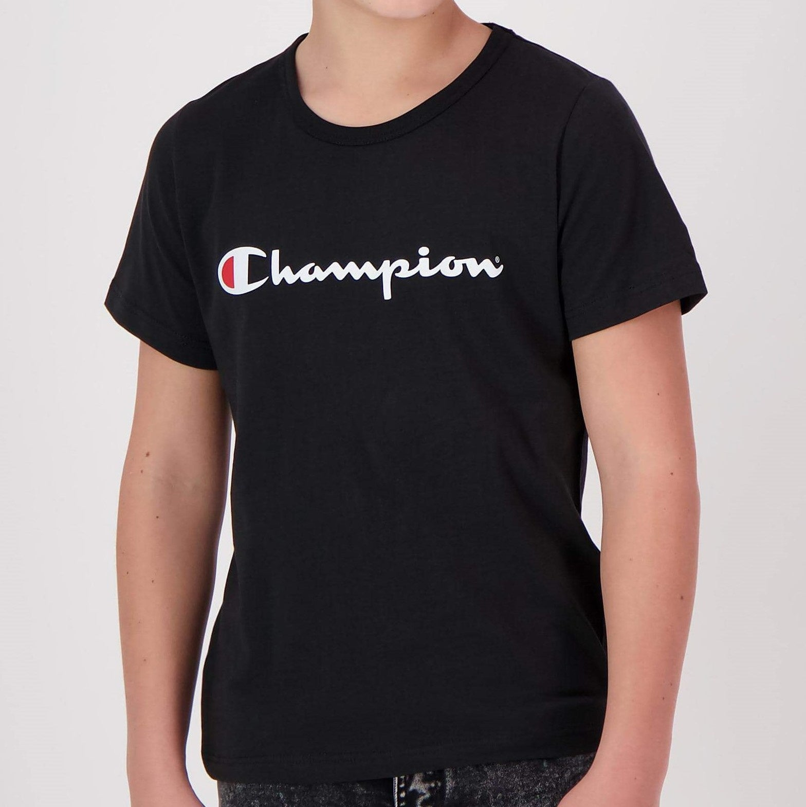Champion Kids Script SS Tee in Black