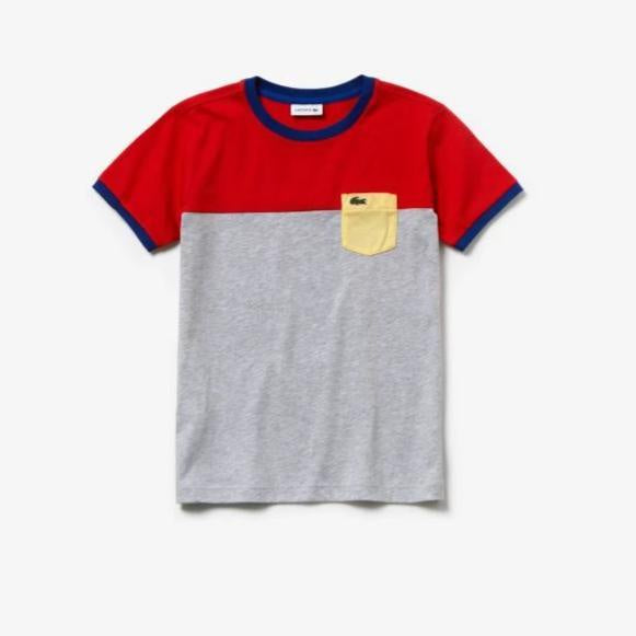 Lacoste Kids Pocket Tee in Red/ Grey Chine/ Yellow