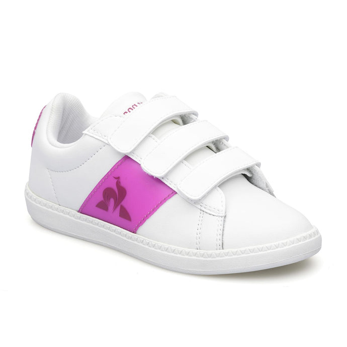 Le Coq Sportif Kids Courtclassic PS Neon in Optical White / Fushia Red