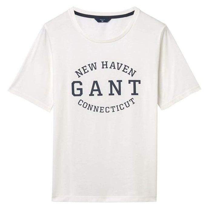 Gant Women Seasonal Logo T-shirt in Eggshell
