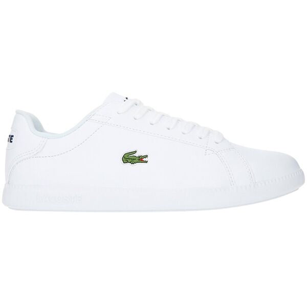 Lacoste Women Graduate BL 1 SFA Leather/ Synthetic Shoes in White/ White