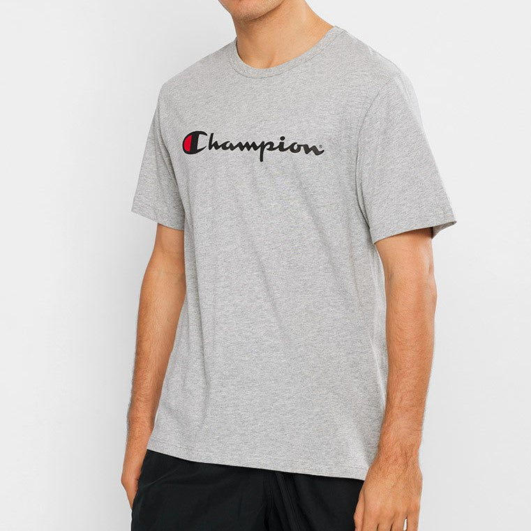 Champion Men Script SS Tee in Oxford
