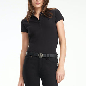 Tommy Hilfiger Women Heritage SS Slim Polo in Black