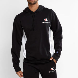 Champion Men SPS Panel Hoodie in Black/ White