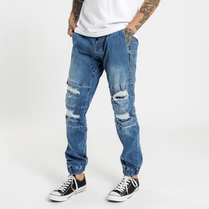 Henleys Men Blake Moto Denim Jogger in Blue Blast