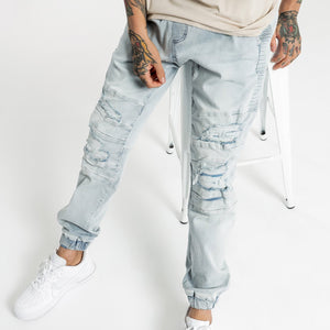 Henleys Men Blake Moto Denim Jogger in Vintage Blues