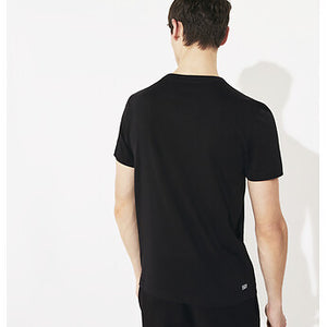 Lacoste Men Training Croc Logo Tee in Black/White