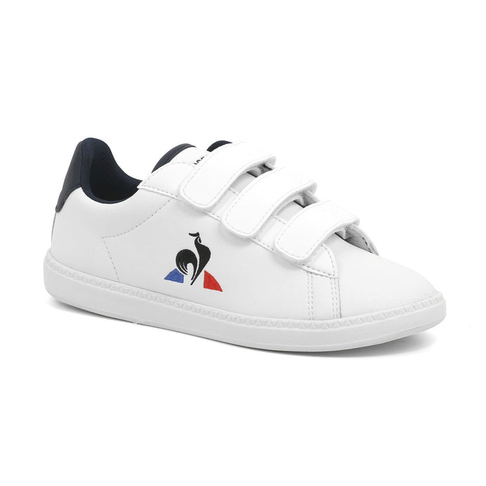 Le Coq Sportif Kids Courtset PS Shoes in Optical White/Dress Blue
