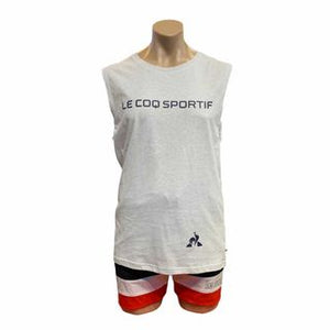 Le Coq Sportif Men Pigalle Tank in Snow Marle