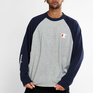 Champion Men Fre Try CBLK Crew in Oxford Heather/ Navy