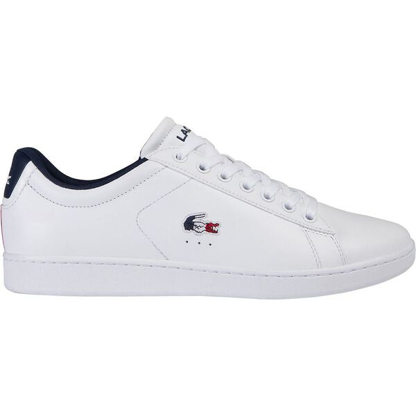 Lacoste Men Carnaby Evo Tri1 SMA Leather/Synthetic Shoes in White/ Navy/ Red