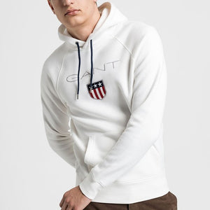 Gant Men Shield Hoodie in Egg Shell