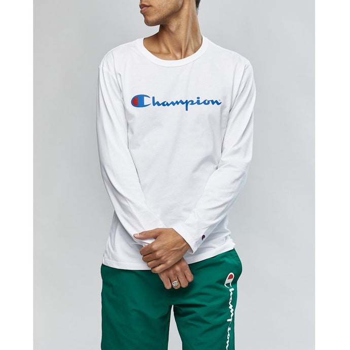 Champion Men Script LS Tee in White