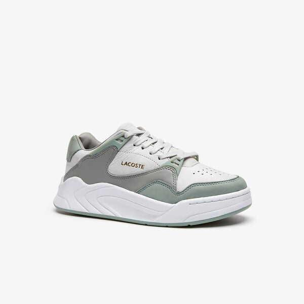 Lacoste Women Court Slam 219 1 Leather Shoes in Light Grey/ Light Green
