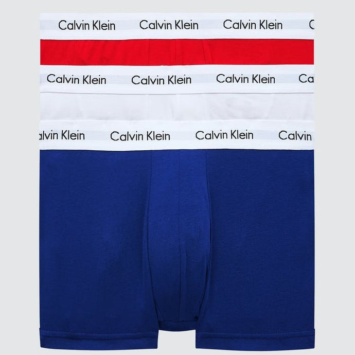Calvin Klein Men Cotton Stretch 3 Pack Trunk in White/Red/Navy