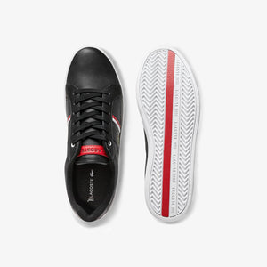 Lacoste Men Europa 0120 1 SMA Leather/ Synthetic Shoes in Black/ White