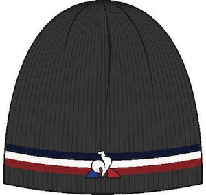 Le Coq Sportif Men LCS Tricolore Beanie Hat in Black