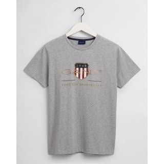 Gant Men Archive Shield SS T-Shirt in Grey Melange