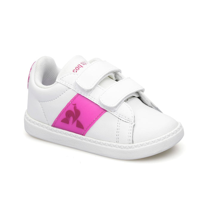 Le Coq Sportif Kids Courtclassic INF Neon in Optical White / Fushia Red