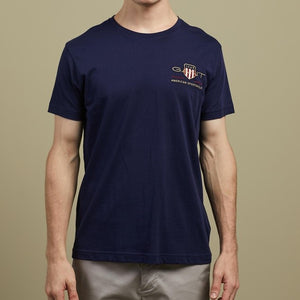 Gant Men D2 Archive Shield SS T-Shirt in Evening Blue