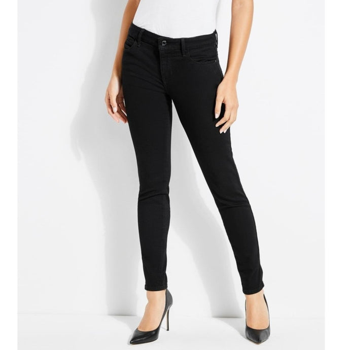 Guess Women Mid Rise Skinny Jeans in Overdye Black