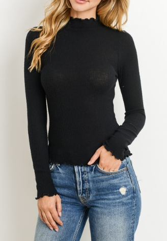 Long Sleeve Turtle-neck Top