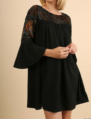 Velvet Embroidered Sleeve Shift Dress