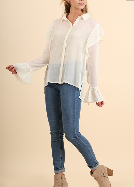 Sheer Button-Up Accent Shoulder Top
