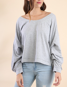 Gathered Sleeve Sweater
