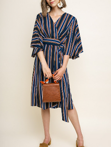 Striped Wrap Midi Dress