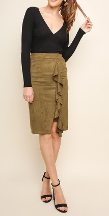 Suede Hi-Waist Pencil Skirt