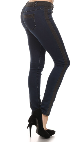 Black-Detail Skinny Jeans