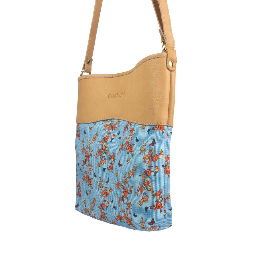 Pelletteria Coryum Blu floreale Shopper estiva in cuoio e canvas