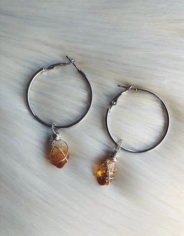 PRE ORDER! - Citrine Hoop Earrings (COMING SOON)