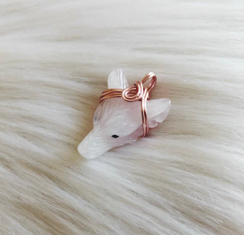 Rose Quartz Wolf Crystal Pendant