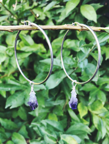 PRE ORDER - Amethyst Large Hoop Earrings (COMING SOON)