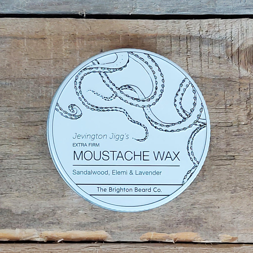 The Brighton Beard Company - Jevington Jigg's Extra Firm Moustache Wax, Sandalwood, Elemi & Lavender