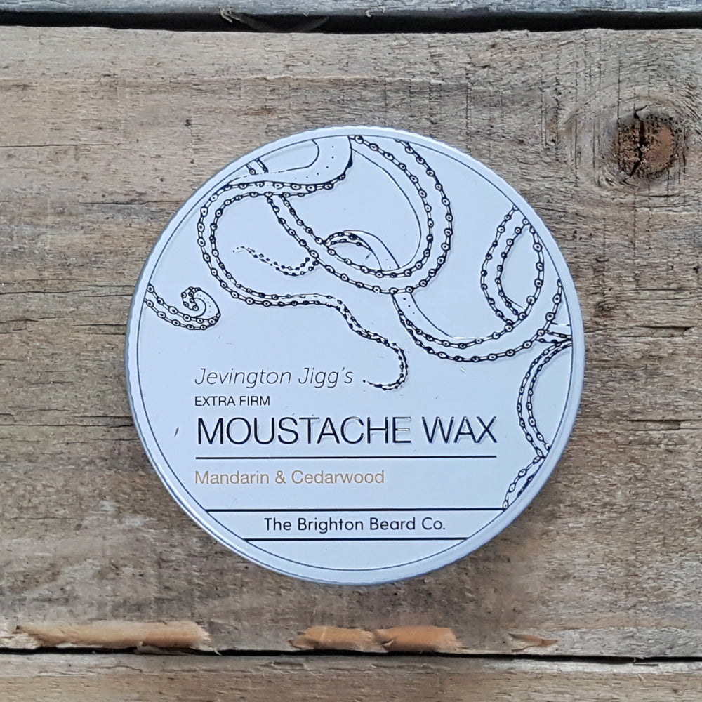 The Brighton Beard Company - Jevington Jigg's Extra Firm Moustache Wax, Mandarin & Cedarwood