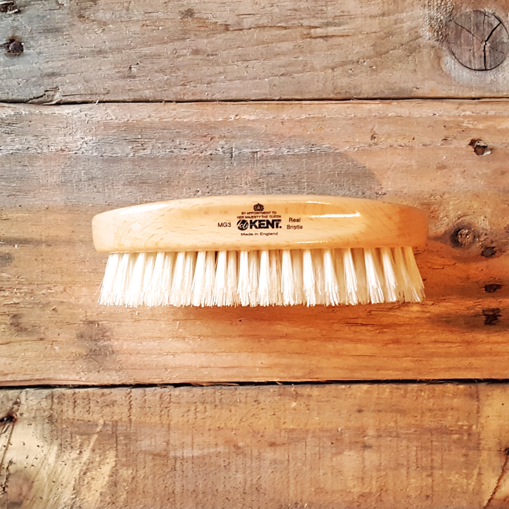 Kent MG3 Oval Beech Beard Brush, White Bristles