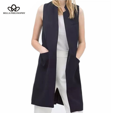 BELLA PHILOSOPHY BLAZER CASUAL WOMEN VEST WAISTCOAT WOMEN LONG SUIT VEST FEMALE JACKET COAT BLACK POCKETS OFFICE LADY - greenwichvillagegoods