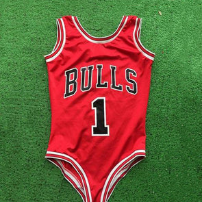 RED THONG ONE PIECE SWIMWEAR WOMEN SEXY BULLS BODYSUIT SWIMSUIT BATHING SUIT LETTER BEACH WEAR - greenwichvillagegoods