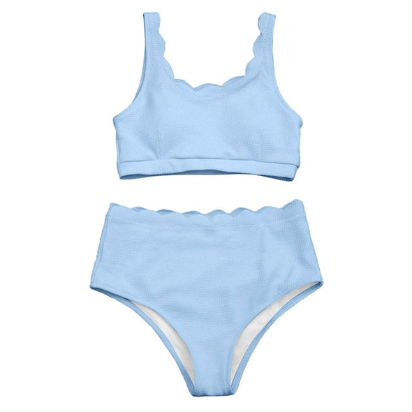 HIGH WAISTED SCALLOPED BRALETTE BIKINI SET - greenwichvillagegoods