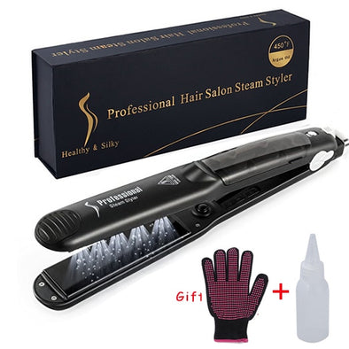 2 in 1 Steam Hair Straightener and Curler Flat Iron With Vapor Ceramic Tourmaline - greenwichvillagegoods