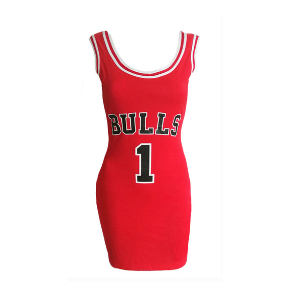 SUMMER BULLS SPORTING DRESS WOMEN CUT JERSEY ABOVE KNEE LENGTH O-NECK TUNIC DRESSES STYLE - greenwichvillagegoods