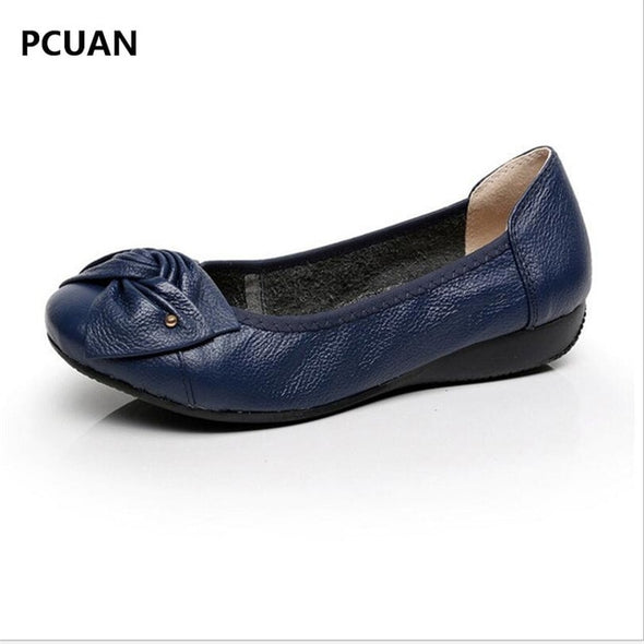 PLUS SIZE(34-43) WOMEN GENUINE LEATHER FLAT SHOES WOMAN WORK SHOES NEWEST FASHION FEMALE CASUAL SINGLE SHOES WOMEN FLATS SOFT - greenwichvillagegoods